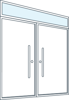 door configuration double door transom